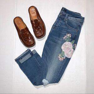 7 For All Mankind Distressed Embroidered Jeans